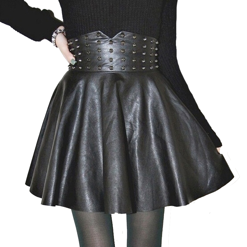 Damen PU Leder Hohe Taille Röcke Dame Plissee Kurz Mini Party Rock Clubwear