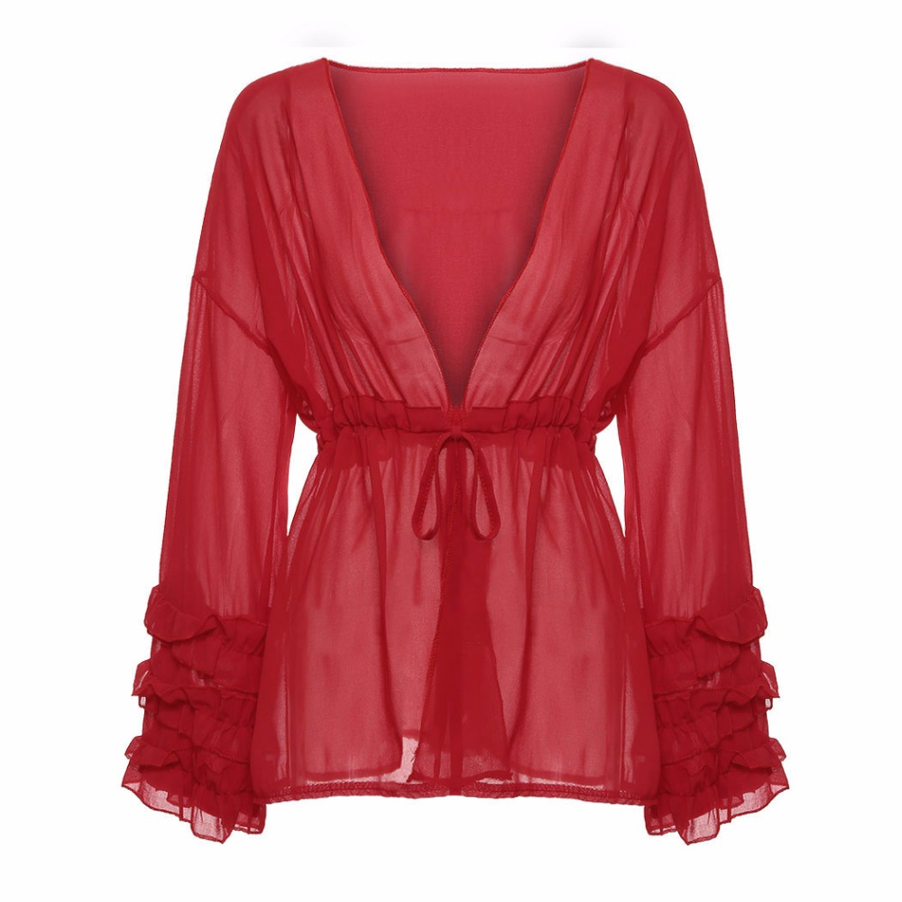 Women Ruffles Chiffon Peplum Tunic Tops Casual Loose Ladies Tee Shirt Sexy Deep V-Neck Transparent Blouses Femme Blusas Z4
