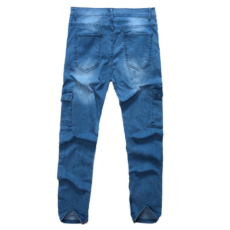 wholesale Men Pencil Pants Jogger Hip Hop Jeans 2018 Autumn Winter Men Denim Jeans With Pocket Street Fashion Skinny Zipper Pants