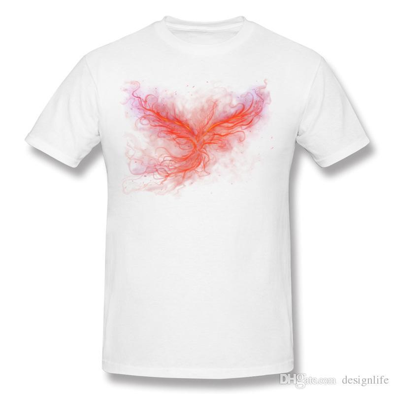 Popular Mens 100% Cotton The Phoenix Rise Tee Shirt Mens Crew Neck Gray Short Sleeve Tee Shirts 3XL Printed On Tee Shirt
