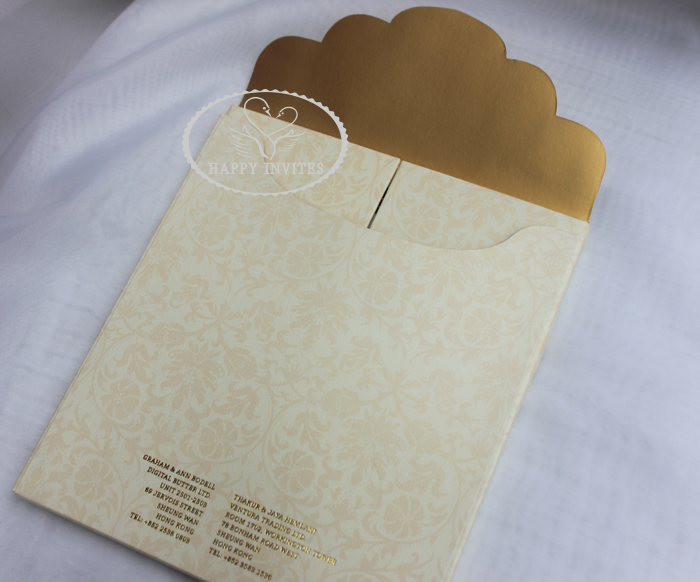HI1091 - 19 Personalized Hard Cover Gate Fold Wedding Card with Gold Foil