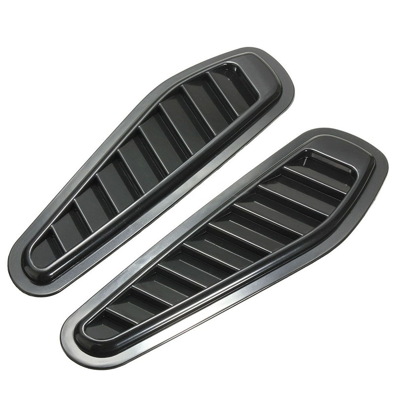 Mayitr 1 Pair Car Styling Stickers Black Air Flow Vent Fender Intake Hood Scoop Turbo Bonnet Vent Cover Decorative ABS Plastic