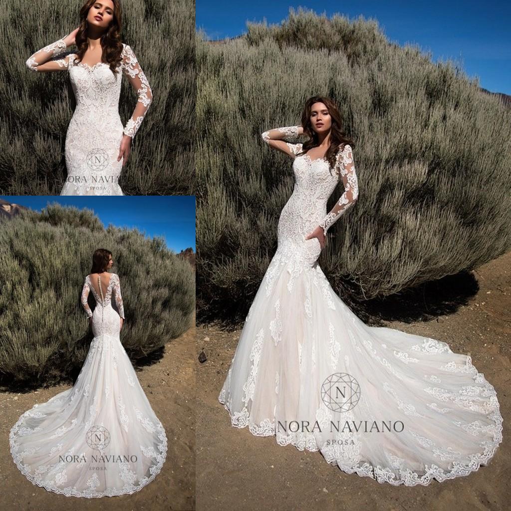 Mermaid Wedding Dresses 2019 Sheer Long Sleeves Illusion Back