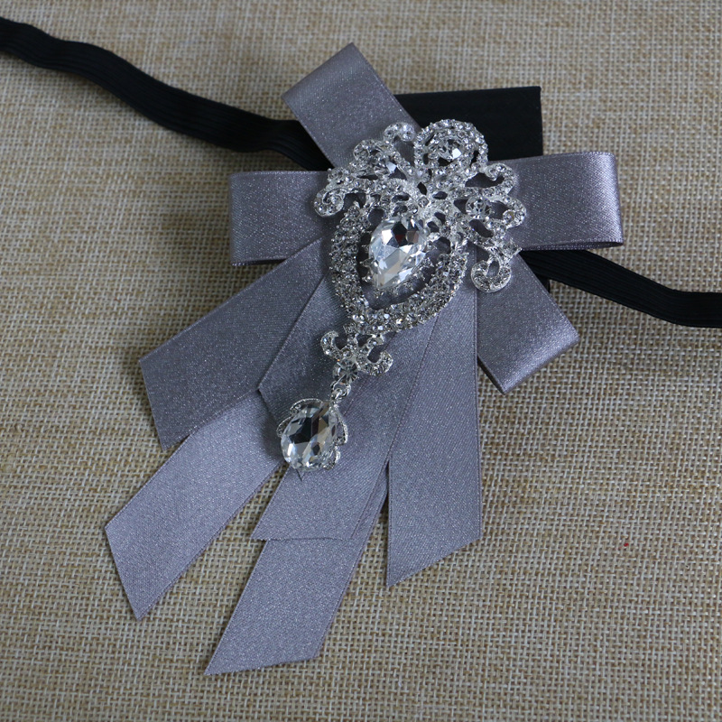 Fashion Hand-made Dress Wedding Dress Korean Version of The Gray Bow Men's British Bow Tie Groom Wedding Diamond Collar Flower