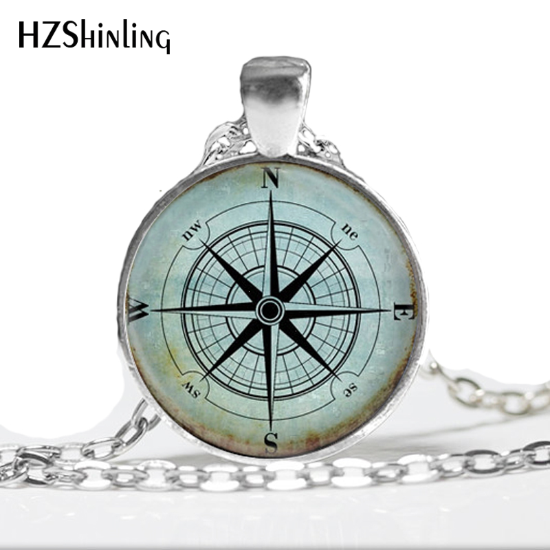 Family Decor Compass Rose Nautical Windrose Pendant Necklace Cabochon Glass Vintage Bronze Chain Necklace Jewelry Handmade