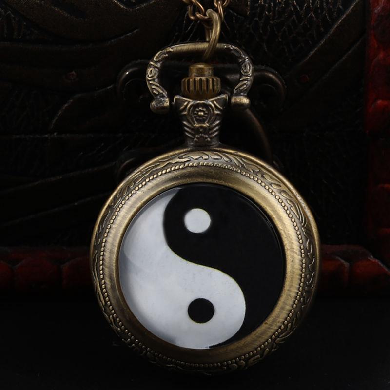 2018 Китай Традиционный Тай Чи Логотип Дизайн Латунные Карманные Часы С Цепочкой Ожерелье Лаки для Мужчин Женщин
