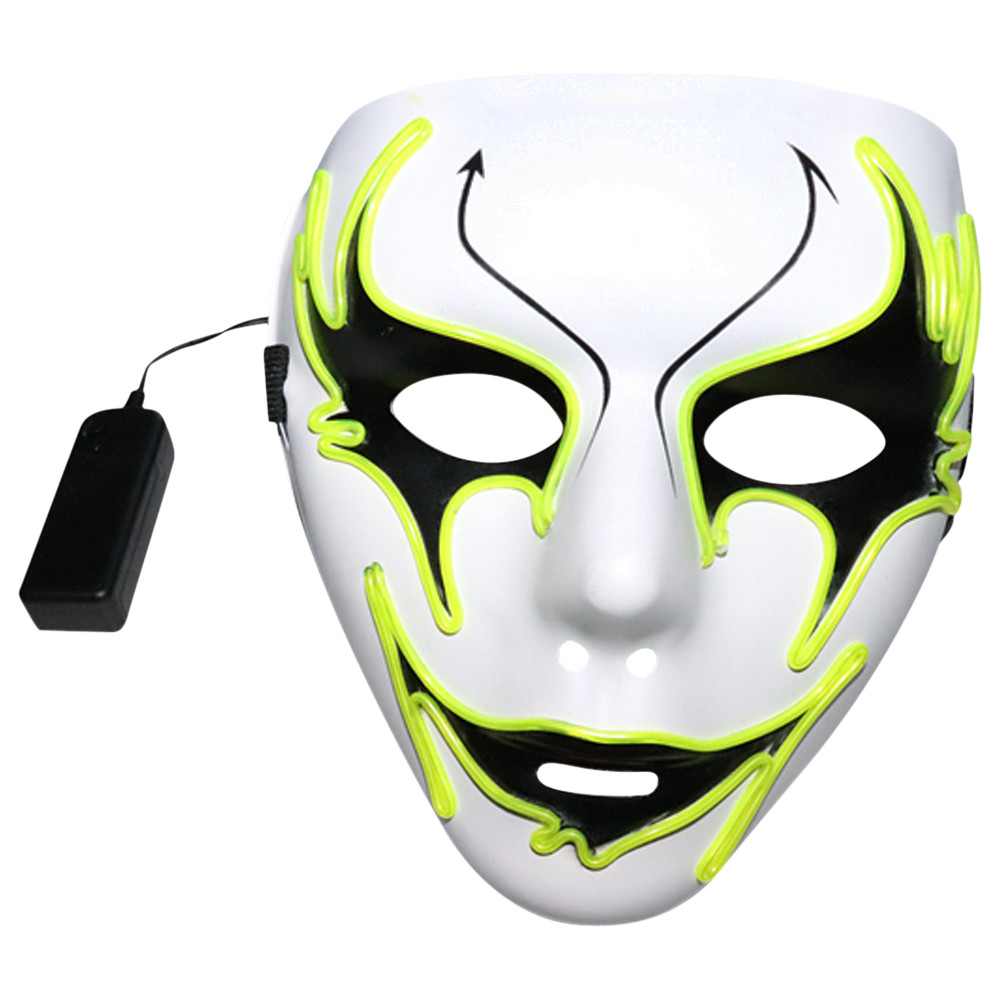 Sound Reactive Full Face Ghost Mask LED Light Up Neon Masque Pour Halloween Effrayant Cosplay Mascarade Danse Parti Luminos Masques