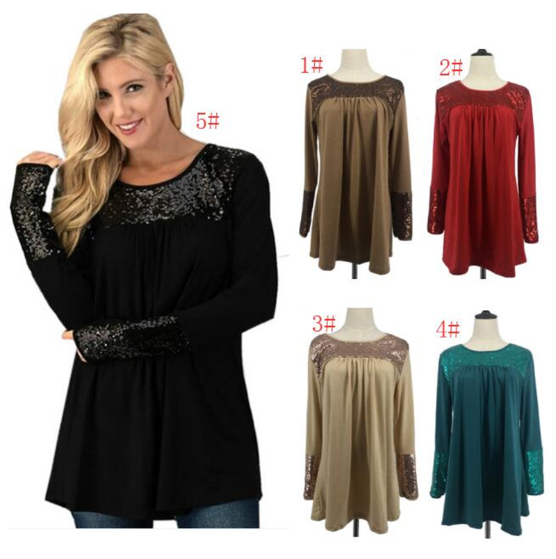 2018 Sequins patchwork Women T-shirts plus size casual Pullover Hoodies O-Neck Long Sleeves Tops Clothes Sweatshirts T-shirts Dress sale