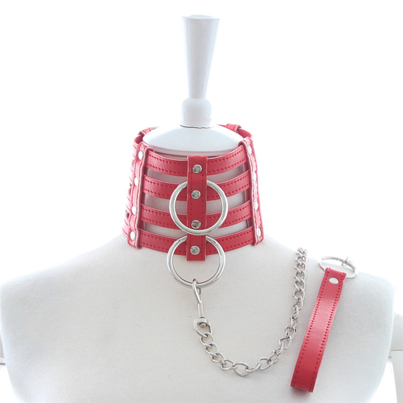 PU Leather Sexy Necklace Neck Collar with Leash BDSM Fetish Bondage Restraints Gear Adult Games S&M Slave Sex Toys for Couples