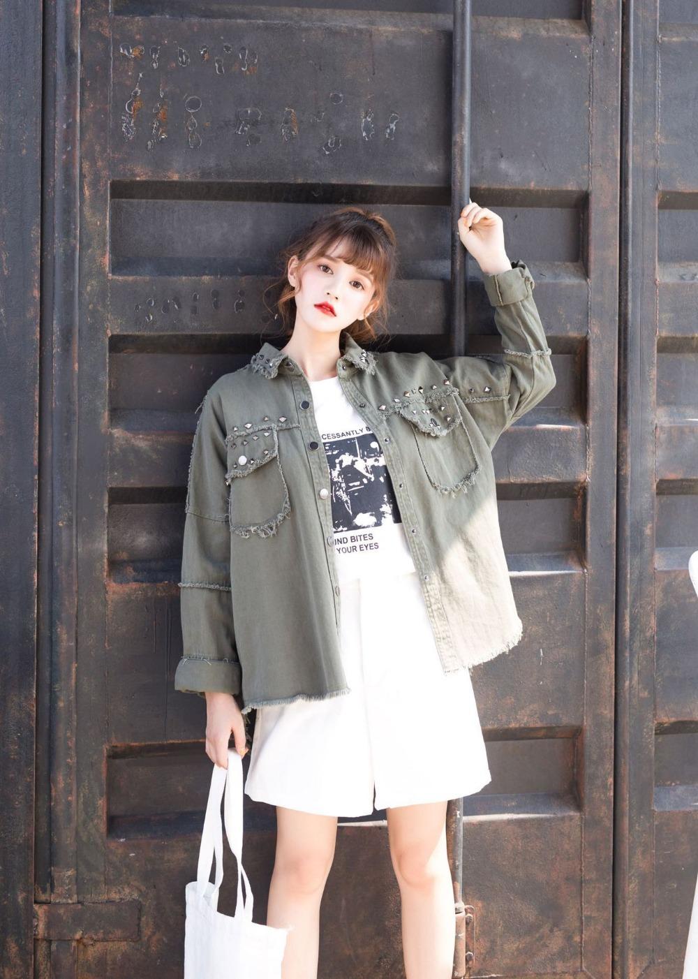 Mujeres Otoño Haoduoyi Moda 2018 Negro Tachonado Coreana Compre FqzxwXWT