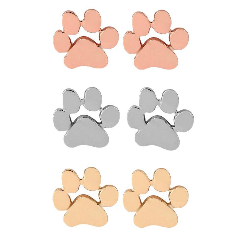 hollow pet cat dog lover paw print stud earrings Puppy Memorial Minimalist earring cute animal footprint rose gold silver plated earrings