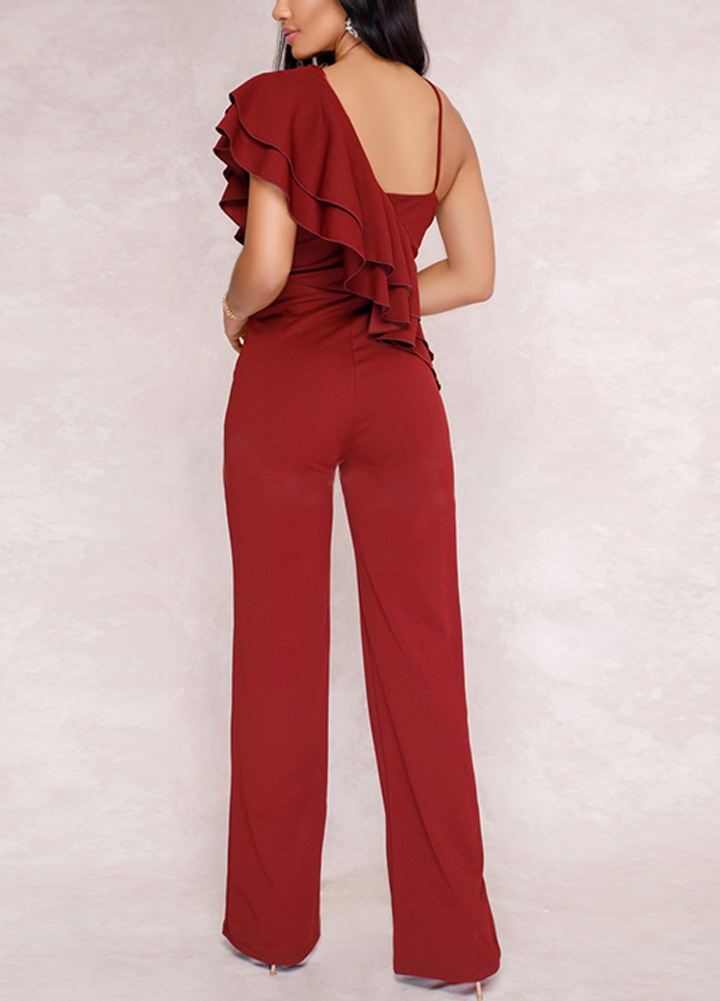 Summer Sexy Tracksuit for Women Ruffle Jumpsuit One Shoulder Strap Backless Wide Leg Playsuit female Rompers dungarees Black/Red