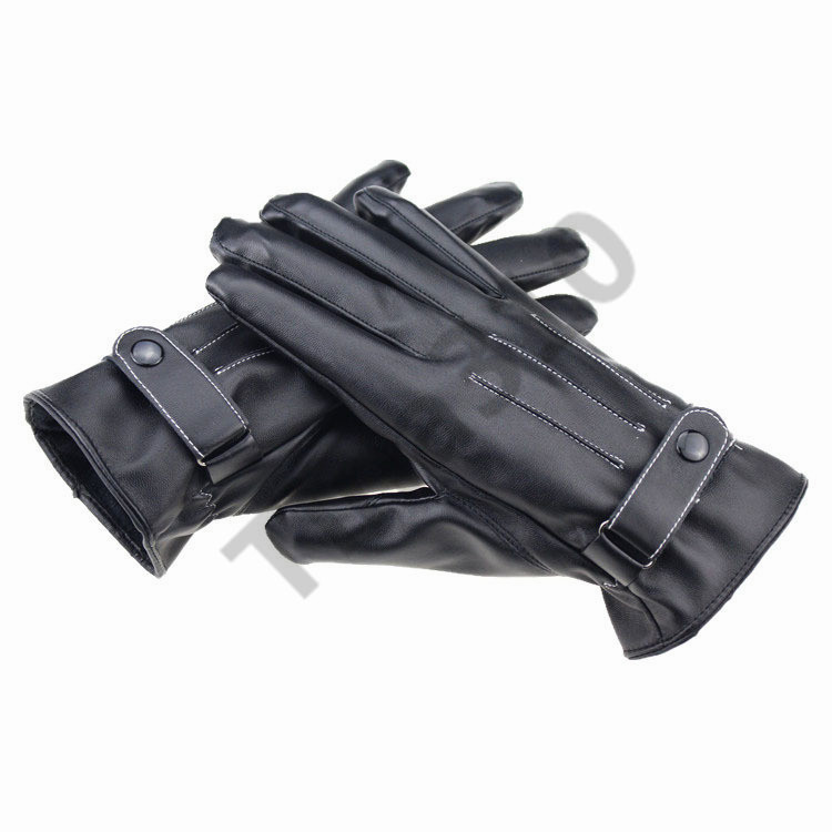 Men PU Leather Touch Screen Gloves Winter Warm Gloves Mittens outdoor driving motorcycle bicycle ski gloves for smartphone T1C400