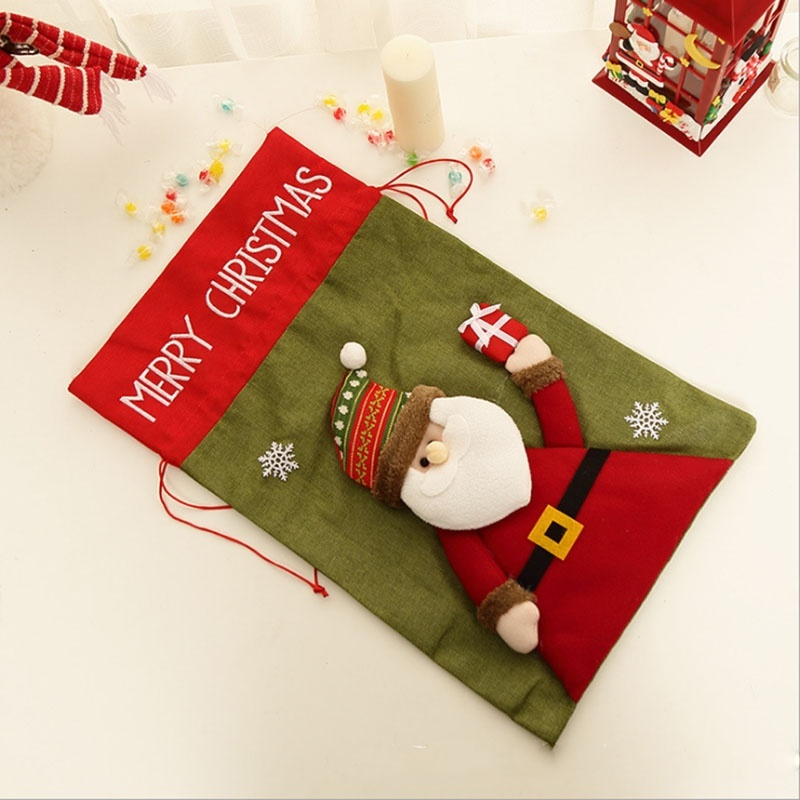 Non-woven Fabrics Large Christmas Xmas Bag Santa Claus Elk Snowman Candy Snacks Gift Storage Bags Holders Christmas Decorations