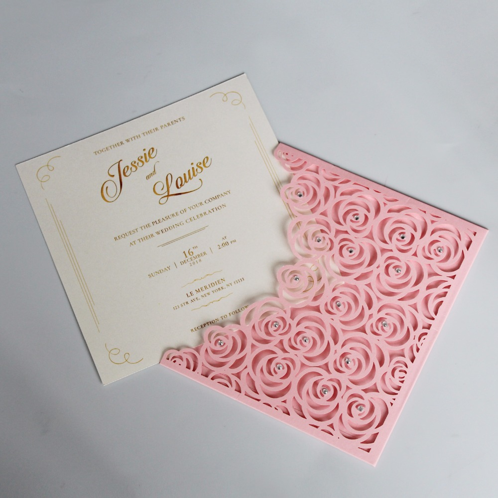 Pink Pocket Wedding Invitations