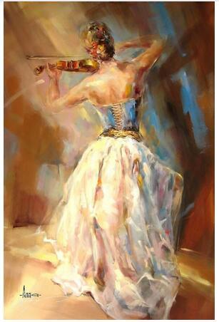 Girls with violin Beautiful woman 1