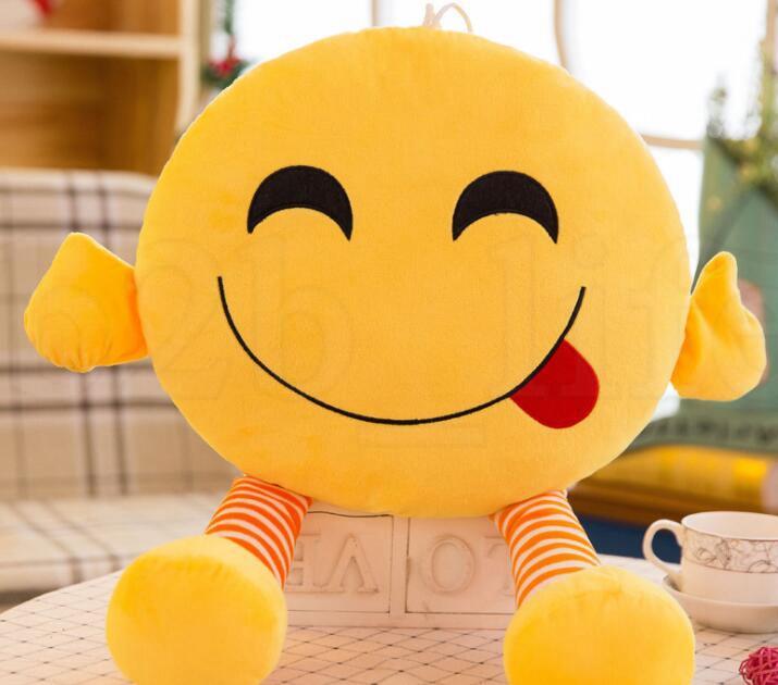 QQ Expression Pillow 37cm Emoji Pillows Cushion With Leg Cartoon Facial Decorative Pillows Stuffed Plush Toy Novelty Doll KKA6139