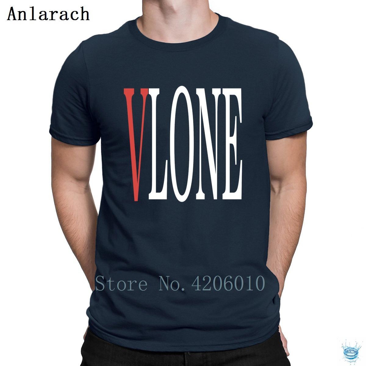 Vlone White Lettrage T-Shirts Créature O-Neck Homme Humour Tshirt pour Homme Cheap Sale Letters Fun Summer