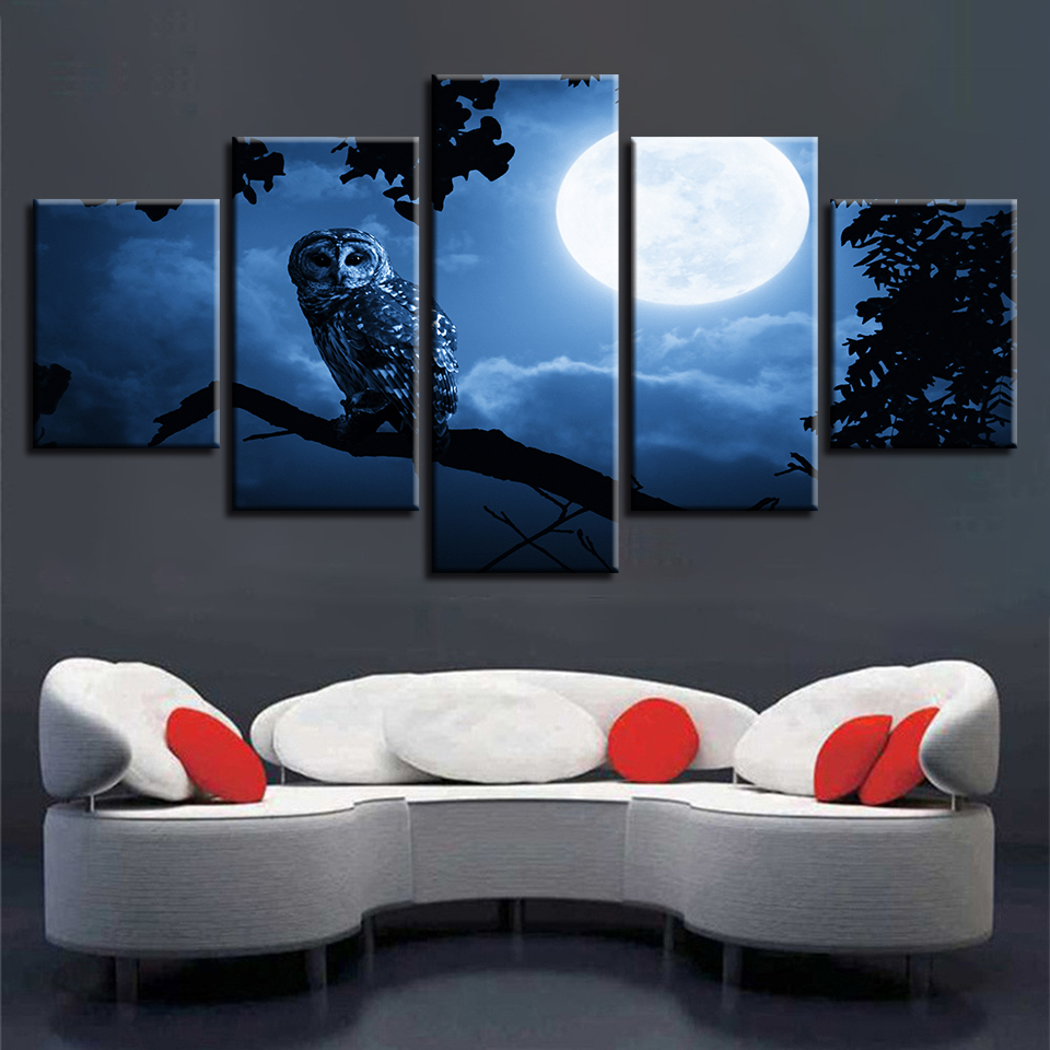 Modern Prints Pictures Bedroom Home Decoration Moon Animal Owl Night View Canvas Painting Modular Poster Wall Art Framed