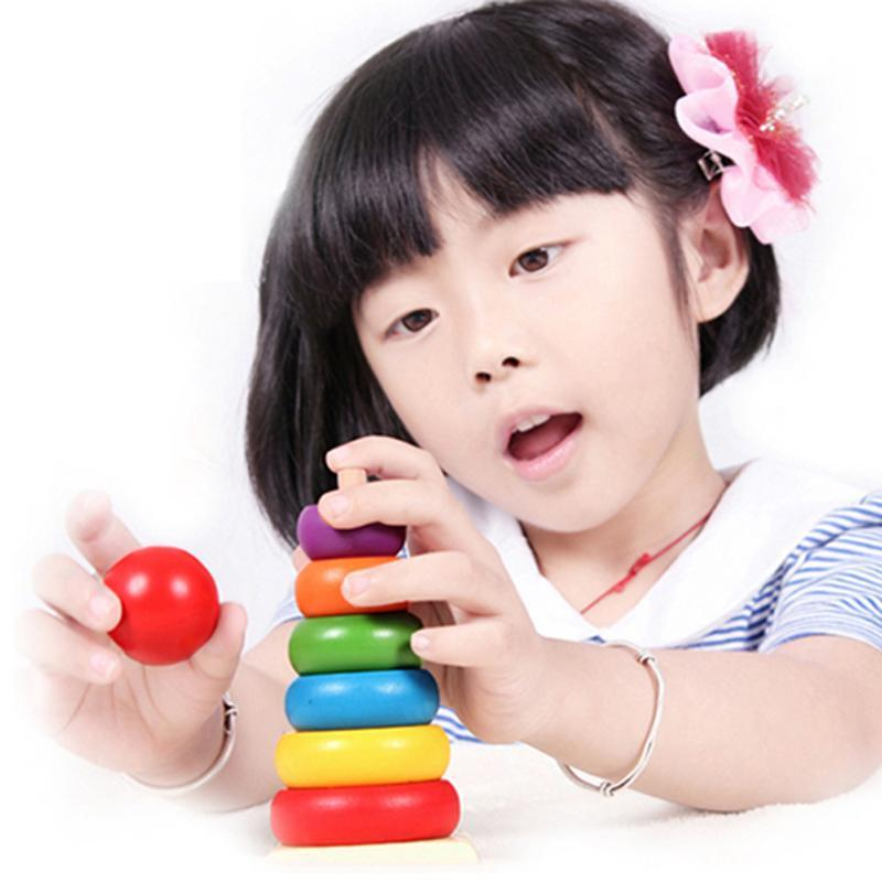 15cm Colorful Wooden Stackle Toy Rainbow Tower Matching Stacking Toy Educational Toys Stack Up Blocks Educational Kids duplo