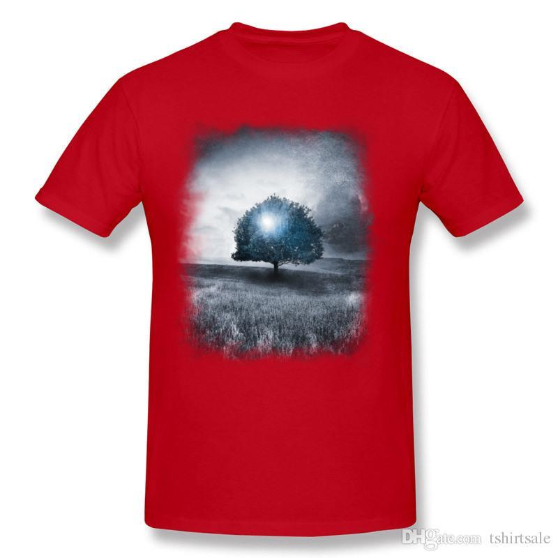 New Coming Men's 100 Cotton Energy from the blue tree T Shirts Men's Round Collar Grey Short Sleeve Tee Shirt Plus Size Printing T