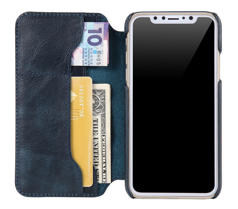 blue real leather flip cover case for iPhone x cell phone luxury wallet card holder fundas