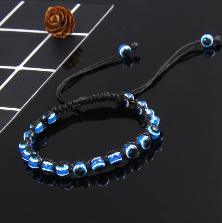 Fashion Hand-woven Evil Eye Hamsa Hand Religious Charm Blue Beads Lucky Bracelet Best Match Turkish Bracelet For Women KKA2191