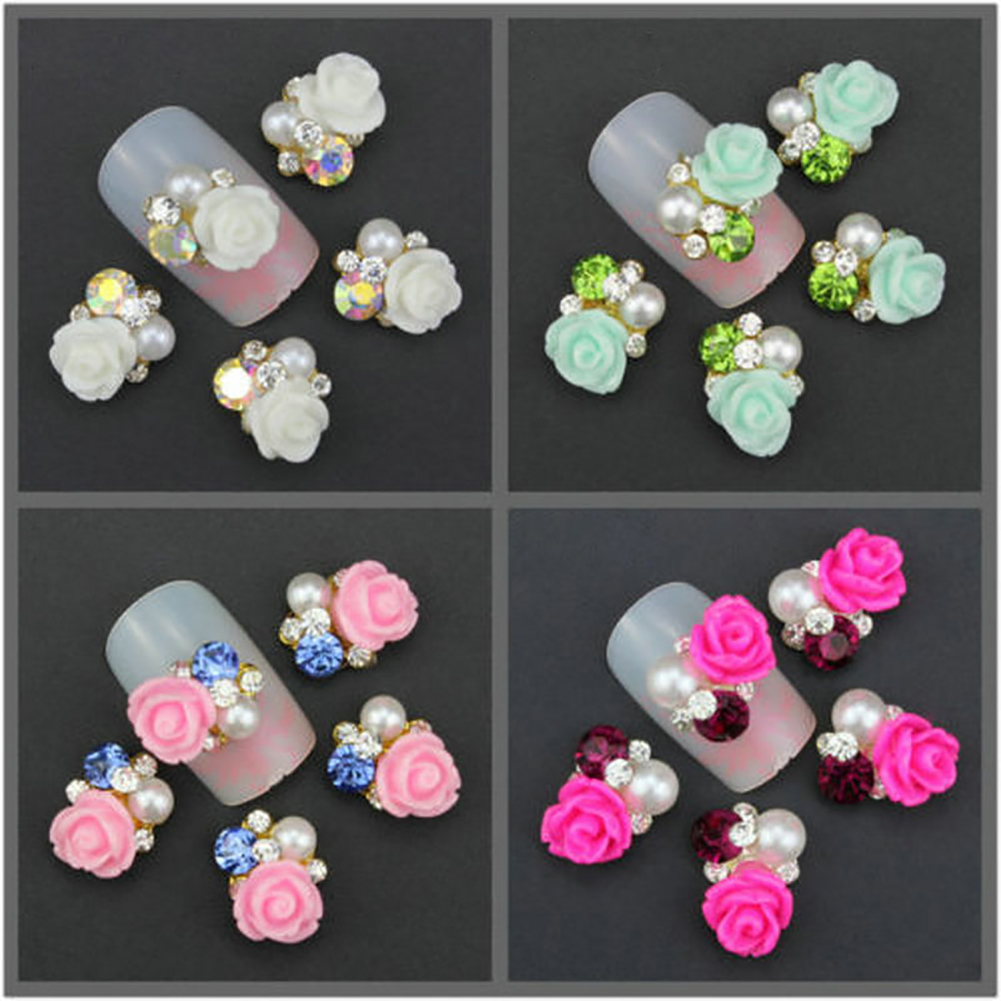 10 Pcs Faux Pearl Rhinestone Flower Nail Art Slices Stickers DIY Decorations (5)