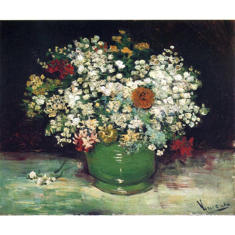 Mazzo Di Fiori Van Gogh.Sconto Tela Di Canapa Della Pittura A Olio Del Vaso Del Fiore