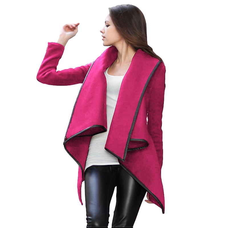Mode Frauen Asymmetrische Mantel Einfarbig Umlegekragen Lange Ärmel Dünne Jacke Temperament Mantel Lose Lange Oberbekleidung C18111301