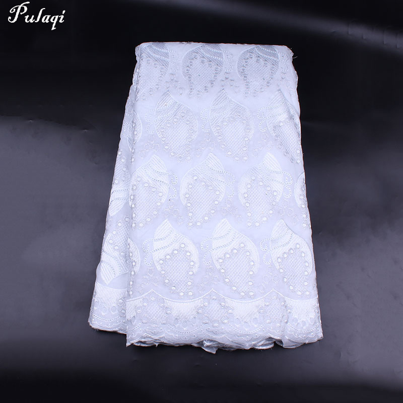 Pulaqi 5yards Swiss Voil African Lace Fabric High Quality Cotton Lace for Sew Party Wedding Dress DIY Nigerian Lace Fabrics H