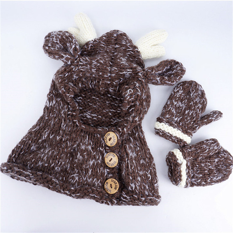 Kids Elk Hooded Hat Scarf Gloves 3 in Winter Wool Hat Warm Knitting Caps Elk Crocket Glove Hat for Girls Accessory Christmas Gift Hot