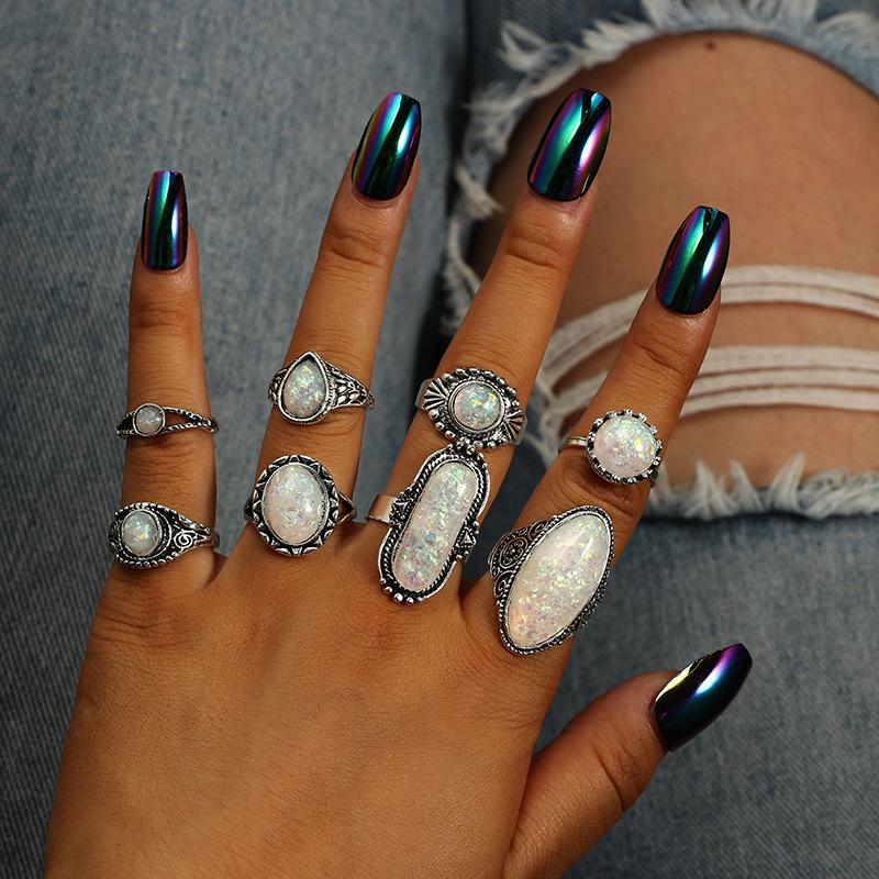 Set 10 anillos anillo las puntas de los dedos en las extremidades dedo anular anillo cristal pedrería circonita