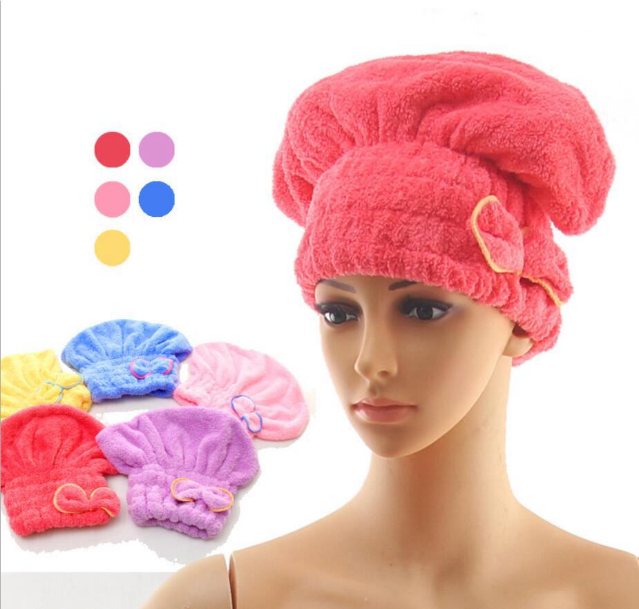 Shower bath caps bow Elastic Wrapped Towels cute fashion spa hat Hair Hat Bath Supplies FFA937