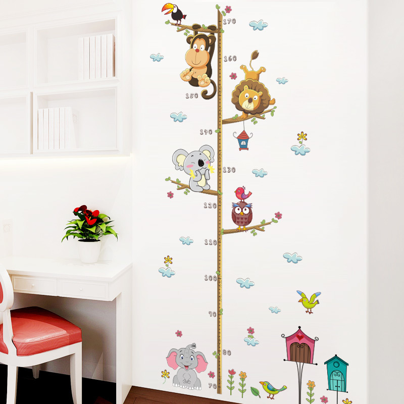 Forest Animals Lion Monkey Owl Bird wall sticker House Tree Height Measure Wall Sticker For Kids Rooms Chart Home Decor Decal wall stickers