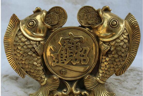 2pc Folk bronze carvings a auspicious lifelike Wealth fish statue Lucky Animal