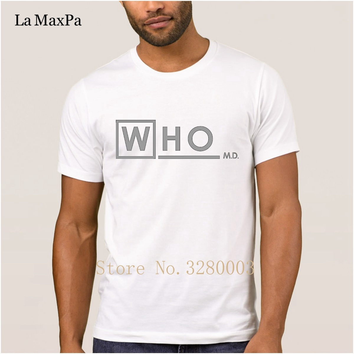 La Maxpa Knitted Comical t shirt for men doctor who md white t-shirt for men 2018 Kawaii tshirt for men O-Neck Graphic