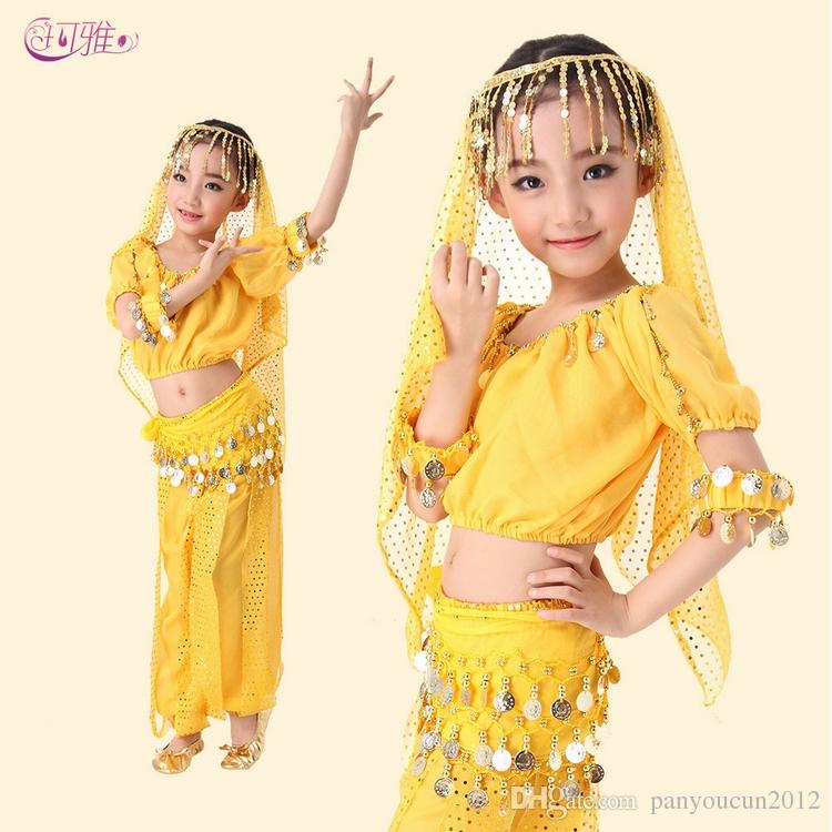 Girl New Belly Dance Costume Short sleeve Sequined Fringed Indian practice skirt Top pants veil bracelet training costume A0318