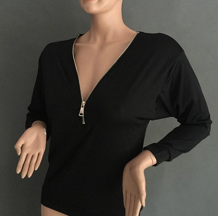 Women Sexy Fashion Batwing Sleeve Blouse Deep V Collar Zipper Sweater Long Sleeved T-shirt Plus Size S-5XL (10)