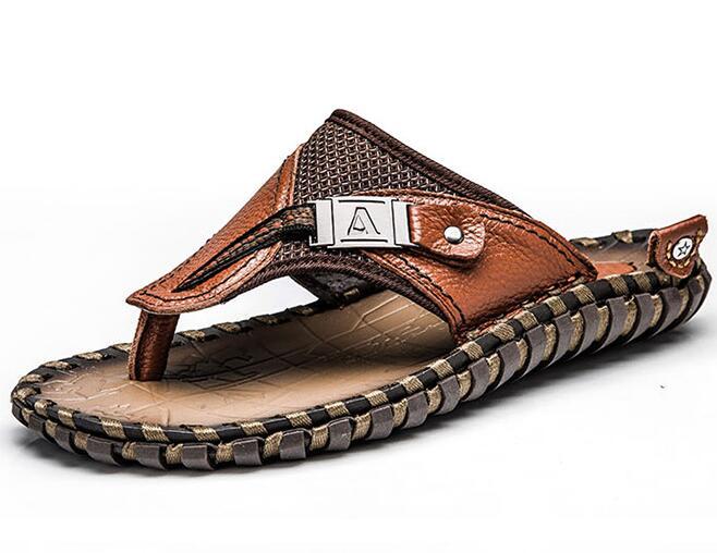 Genuine Leather Men Slippers Beach Shoes Men Flip Flops 2018 Summer Flat Heels Male Slides Luxury Plus Size 48