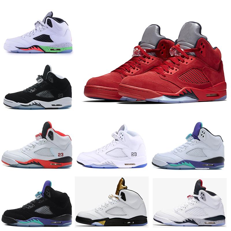 Nice zapatos mens chaussures de basket blanc ciment triple culture noire raisin métallisé NRG nouveau 5 internarional flihght hommes Sport chaussures
