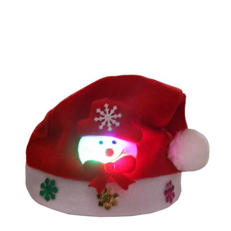 Christmas Hats Santa Cap Kids And Adult Size LEDLight UpLuminous Christmas Hat Decoration New Year Xmas Gifts Party Supplies (5)