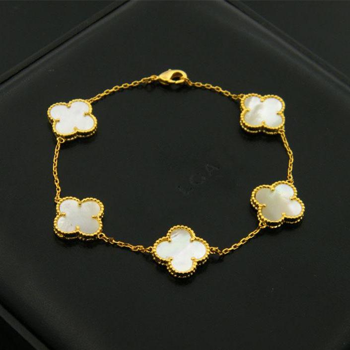 Marca de moda Pulseras de flores Pulseras de trébol de concha de acero inoxidable con ágata negra Trébol de cuatro hojas para mujer Pulsera de oro rosa de plata