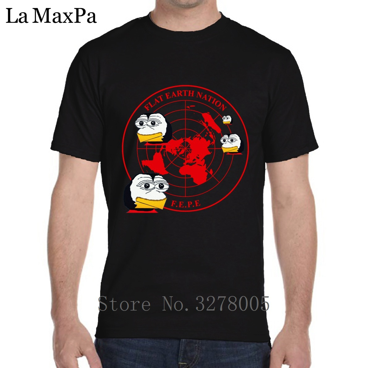 Printed T-Shirt Classic Flat Earth People Everywhere Watching Red T Shirt For Men Kawaii Tee Shirt Personnalise Summer Big Sizes