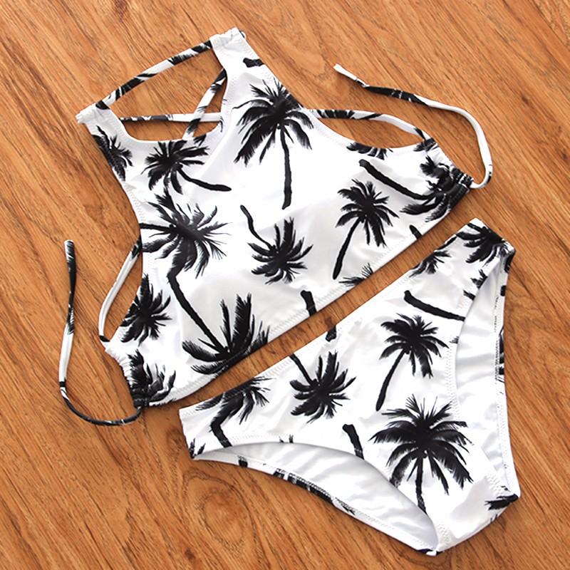 2016-Sexy-High-Neck-Bikini-Swimwear-Women-Swimsuit-Brazilian-Bikini-Set-Green-Print-Halter-Top-Backless