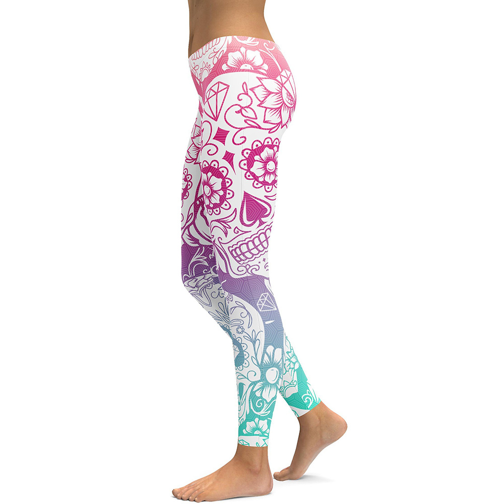 Kadınlar Sıkı Pantolon Çiçekler Iskelet Baskı Sıska Pantolon Robot Tayt Güz Womens Için Rahat Spor Pantolon Spor Yoga Giyim B106