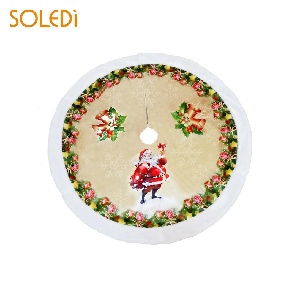 Printing 98cm Party Decor Christmas Tree Stand Santa Claus Christmas Tree Dress Soft Market Christmas Tree Skirt Restaurant