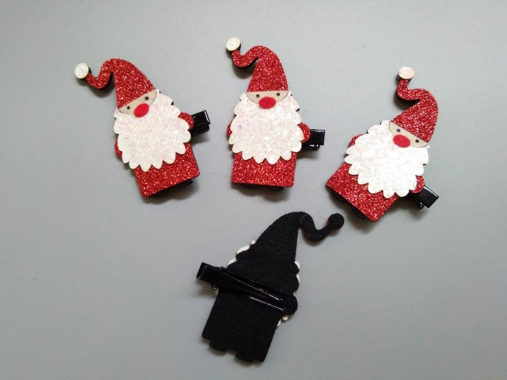 Boutique Fashion Cute Glitter Santa Hair Clips Solid Felt Xmas Hairpins Christmas New Year Party Headware Hair Accessories