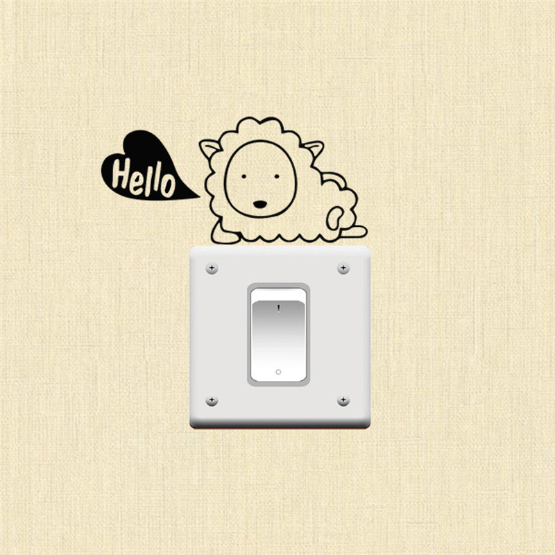 Say Hello cute animal wall switch sticker home decoration light remind vinyl stickers kids bedroom decorations decor decalshaif