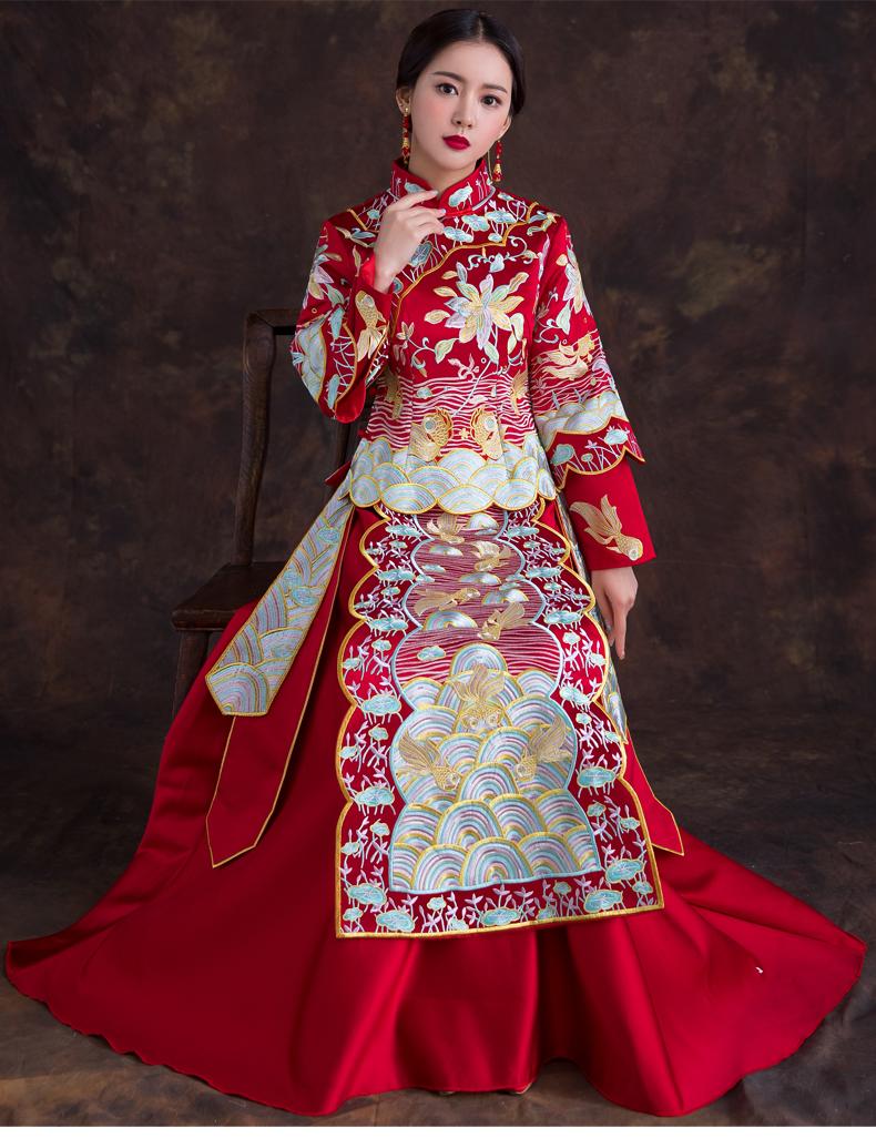 Chinesische Hochzeitskleid Robe Anzug Sommer Toast Braut Hochzeit Kleid  Langarm Hochzeit Qipao Modern Oriental Abendkleid